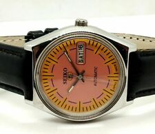 SEIKO 5 AUTOMATIC MEN,S STEEL VINTAGE ORANGE DIAL MADE JAPAN WATCH  RUN ORDER