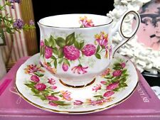 ELIZABETHAN tea cup and saucer WILDFLOWERS teacup pink floral footed