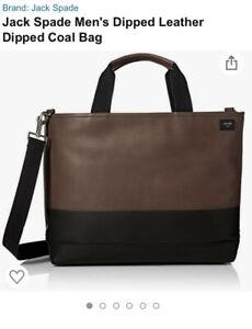 JACK SPADE Men's Dipped Leather Dipped Coal Bag