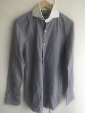 Tom Ford Men's Shirt 39 S M Grey White / Rounded 2 Button Collar