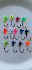 10 pack 1/16 crappie minnow jig heads with eyes #2 red chrome sickle hooks
