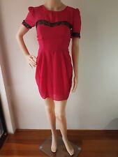 ASOS PETITE Ladies Pink Black Lace Trim Lined Knee Length Dress Size: 8 EUC