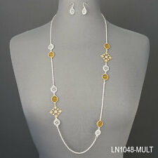 Silver Chain Gold Filigree Vintage Design Pendants Necklace With Earrings