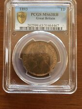 1893 GREAT BRITAIN 1D ONE PENNY PCGS MS63RB