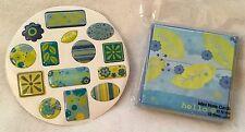 STUDIO 18 12 Mini Note Cards Hello Blank + Horizon 3D Adhesive Decal Stickers