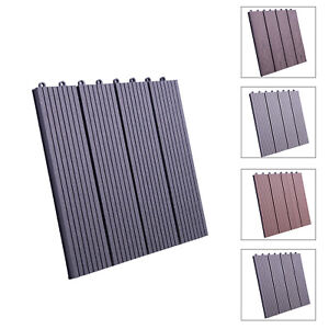 11x WPC Decking Tiles Garden Patio Balcony Interlocking Composite Decking Floor