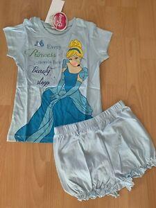 TOP Süsser Schlafanzug Shorty Pyjama DISNEY Princess hellblau Gr. 92 - 128 NEU