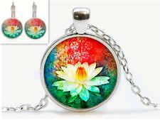 Vintage BUA Kao CABOCHON Glass Tibetan Silver Chain Pendant Earring Necklace