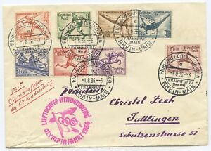 Deutsches Reich Zeppelin Brief Olympiafahrt 1936 Tuttlingen