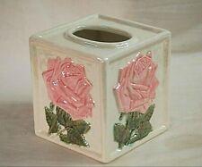 Classic Ceramic Lusterware Vanity Tissue Box Cover Holder w Rose Floral Designs