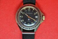 Zakaz MO USSR vintage soviet  military wrist watch Komandirskie Black dial 2414