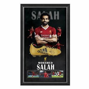 MOHAMED SALAH LIVERPOOL FC HAND SIGNED FRAMED SOCCER BOOT FIRMINO SANE HENDERSON