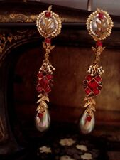 Vintage Exquisite Grey Pearl & Ruby Red Crystal Long Drop Clip Earrings Haskell