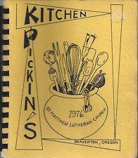 BEAVERTON OR 1976 ST MATTHEW LUTHERAN CHURCH COOK BOOK KITCHEN PICKIN'S * OREGON