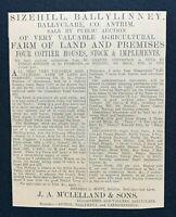 1926 Newspaper Clipping SIZEHILL, BALLYLINNEY BALLYCLARE, SALE OF FARM & HOUSES