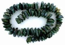 "RICH MOSS AGATE HEAVY FLAT NUGGET GEMSTONE BEAD 15"" STRAND 1/3 to 1/2 Inch SIZE"