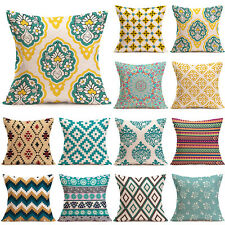 Vintage Geometric Flower Cotton Linen Throw Pillow Case Cushion Cover Home Decor