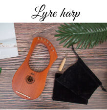 AKLOT Lyre Harp 7 String Mahogany Body Bone Nut with Tuning Wrench for Beginner
