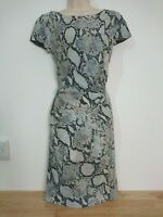 Laura Ashley Grey Black Blush Snakeskin Print Flattering Ruched Dress Size 10