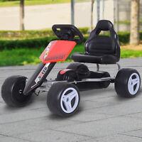 HOMCOM Go Kart Coche de Pedales Carga 30kg Asiento Ajustable para Niños 3-8 Años