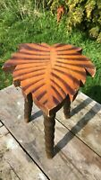 Beautiful Vintage Wooden Hand Made Palm Tree Foot Stool Seat *