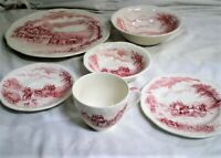Alfred Meakin Staffordshire England DEVONSHIRE ROAD RED 6-PIECE PLACE SETTING(S)