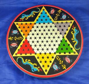 Vintage Chinese Checkers/Wood Checkers Game Board JAPAN Glass Marbles