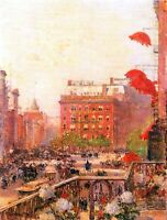 Broadway and Fifth Avenue by Childe Hassam Giclee Fine Art Print Repro on Canvas