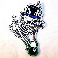 POOL SHOOTER EMBROIDERED PATCH sew iron on P357 skeleton billiards biker patches