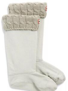 Hunter Original Tall Greige Cable Knit Cuff Welly Socks Size L New in Box