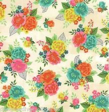 Moda Basic Grey Fresh Cut Coconut Cream Floral Bouquet quilting fabric
