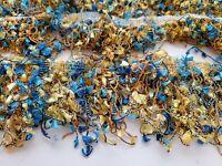 "Vintage Blue & Gold Tassel Hanging Trim/Ric Rac 3"" x 4.1 Yards"