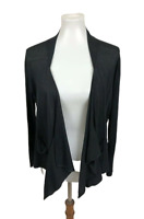 Magaschoni Women's Size L Black Draped Front Cardigan Sweater Silk Linen Blend