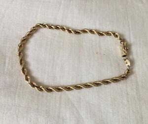 """14K SOLID Gold Rope Bracelet 8.25"""""""