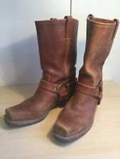 FRYE Womens Harness Brown Leather Boots