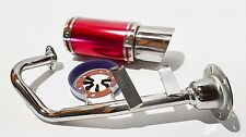 Red 50cc Scooter Performance Exhaust and Stubby Racing Muffler - 139QMB & GY6