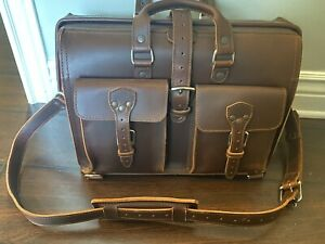 Saddleback Leather Barrister Bag Briefcase Travel Luggage Dark Brown EUC