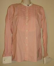 RUGBY by Ralph Lauren contrast collar/cuffs pink stripe dress shirt Women Size 2