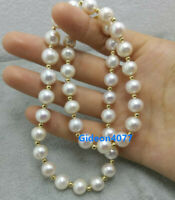 "18"" NATURAL AAA 8-9MM AKOYA White PEARL NECKLACE 14K GOLD CLASP"