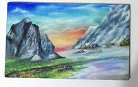Peinture paysage de montagne a l`huile format 20/12.5 cm (étude) sur bois
