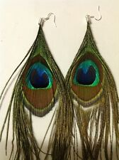 One Pair Beautiful Peacock Feather Earrings With Sterling Silver Hooks