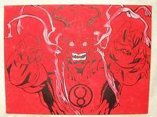 Canvas Painting Thundercats Mumm Ra Mummra Red Pink Art 16x12 inch Acrylic