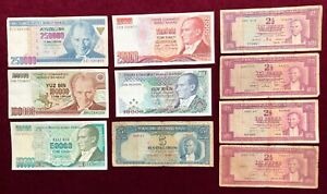 Turkey      Group of 10 Notes       Very Good to Extra Fine