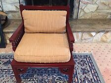 Vntge Custom Designer ARM CHAIR Cushioned Wide Seat-Spindle Back/Arms Heavy Wood