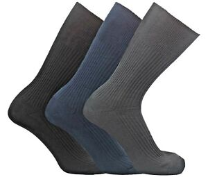 Mens 100% Cotton Diabetic Socks Lot Dark Ribbed Non Elastic Loose Sock Size 6-11
