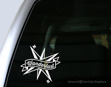 Wanderlust Banner with Compass Vinyl Decal - Laptop Decal, Car Window Sticker