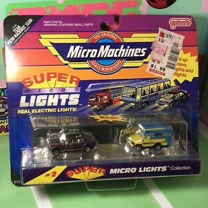 Galoob Micro Machines Super Micro Lights #2 Chevy Camper & Lincoln Limo 1990 NIP