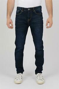 New Mens Jeans Slim Tapered Fit Plain Blue Pants Heavy Winter Warm Denim Comfort