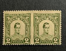 D6/46 Colombia Stamp 1899 119 2 Pesos Missing Perf Error Pair M?NHNG Great Pie