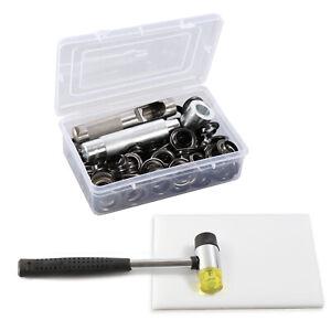100 Sets Gunmetal Black Leather Eyelets Ring w/Hammer Die Punch Tools White Pad